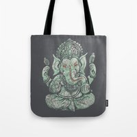 ganesha Tote Bags featuring Ganesha by Thomcat23