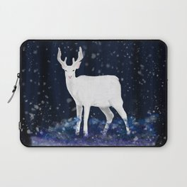 White deer in the snowy forest Laptop Sleeve