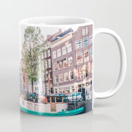 Amsterdam House Boats on Canal | Europe City Travel Urban Landscape Photography Coffee Mug