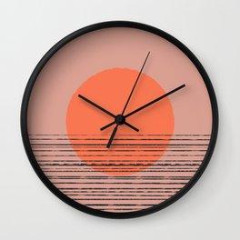 Abstract pattern 7o j landscape sunset orange Wall Clock