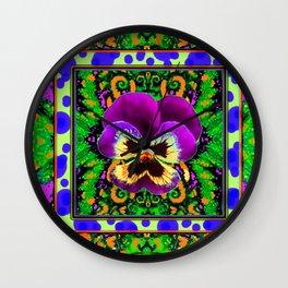 Modern Purple Pansy Organic Green Art Wall Clock