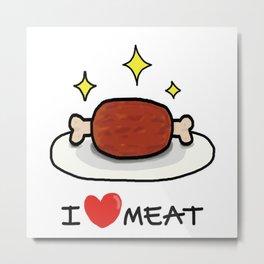 """I LOVE MEAT """"MANGA"""" Metal Print"""