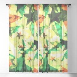 Bright glowing marsh golden stars on a light background in the projection. Sheer Curtain