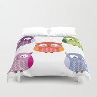 owls Duvet Covers featuring Owls by Lily Art