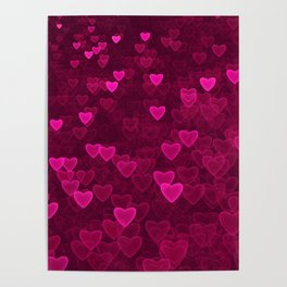Valentine's Day | Romantic Crimson Galaxy | Universe of pink purple hearts Poster