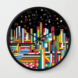 Flagscapes: World Cityscape Wall Clock