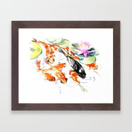 Nine Koi Fish, 9 KOI, feng shui artwork asian watercolor ink painting Framed Art Print