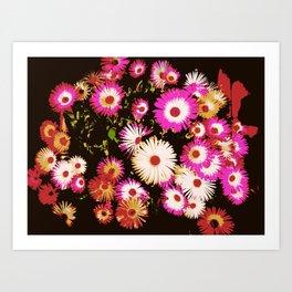 Bright Flowers - Dark Background Art Print