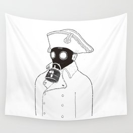 Napoleon with a gas mask. Wall Tapestry