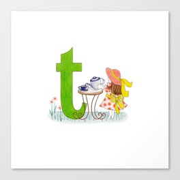 t is for teacup Canvas Print