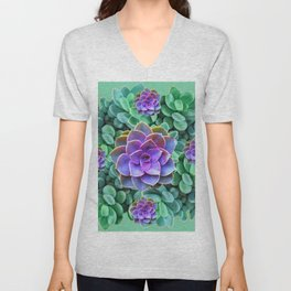 GREY-GREEN LILAC SUCCULENTS GARDEN  IN GREEN ART Unisex V-Neck