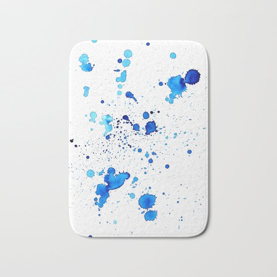 Blue Splatter Bath Mat