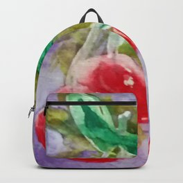 Red Cherries on Purple watercolor by CheyAnne Sexton Backpack