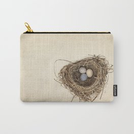 Bird Nest with Stone Eggs on Vintage Paper Carry-All Pouch
