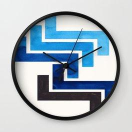 Prussian Blue Pattern Mid-century Modern Simple Geometric Pattern Watercolor Minimalist Art Squares Wall Clock