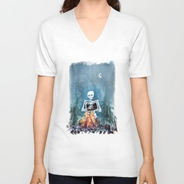 Skelly by the Campfire Unisex V-Neck