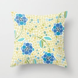 Ditzy Mosaic forget Me Nots on Yellow Throw Pillow