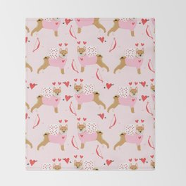 Shiba Inu love bug valentines day cute dog breed costume shibas pure breed puppers Throw Blanket