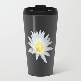 White Lotus Flower Travel Mug