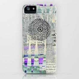 Blue Grey Abstract Art Collage iPhone Case