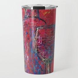 Fun Colorful Modern Wine Art  Fun Colorful Modern Wine Art (wine bottle & glasses) by lena owens Travel Mug
