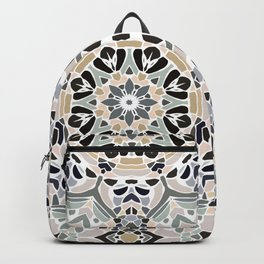 Floral Multicolored Mandala with Light Linen Texture Backpack