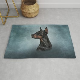 Drawing Doberman dog  6 Rug