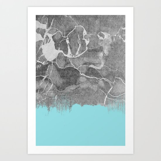 Crayon Marble and Sea Art Print