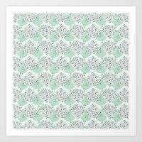 green pattern Art Prints featuring Pattern green by De Assuncao création