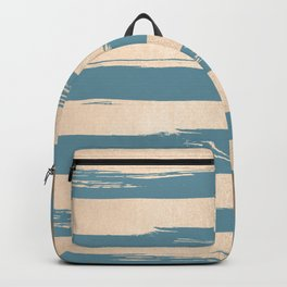 Painted Stripes Gold Tropical Ocean Blue Backpack