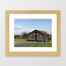 An old house covered by blue bonnets view 2 Framed Art Print