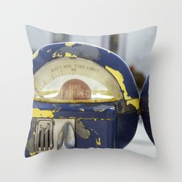 Weathered Parking Meters Throw Pillow