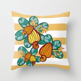Orange Cashew Apple Throw Pillow