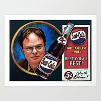 dwight schrute Art Prints featuring Dwight Schrute  |  Beet Cola Advertisement by Silvio Ledbetter
