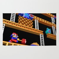 donkey kong Area & Throw Rugs featuring Inside Donkey Kong stage 2 by Metin Seven