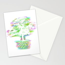 A Perfect Gift Tee With An Illustration Silhouette Of A Magical Oak Tree T-shirt Design Neon Stationery Cards