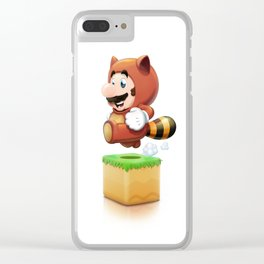 Old School Tanooki Mario Clear iPhone Case