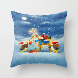 Penguin and Reindeer Christmas Throw Pillow