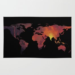 World Map Silhouette - The World is On Fire Rug