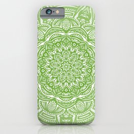 Olive Lime Green Mandala Detailed Ethnic Tribal Pattern iPhone Case