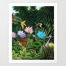 Classical Masterpiece 'Tropical Birds and Flying Things' by Henry Rousseau Art Print