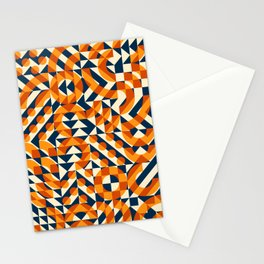 Orange Navy Color Overlay Irregular Geometric Blocks Square Quilt Pattern Stationery Cards