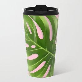 Monstera Leaf Greenery Tropical Pink Aloha Modern Décor Travel Mug