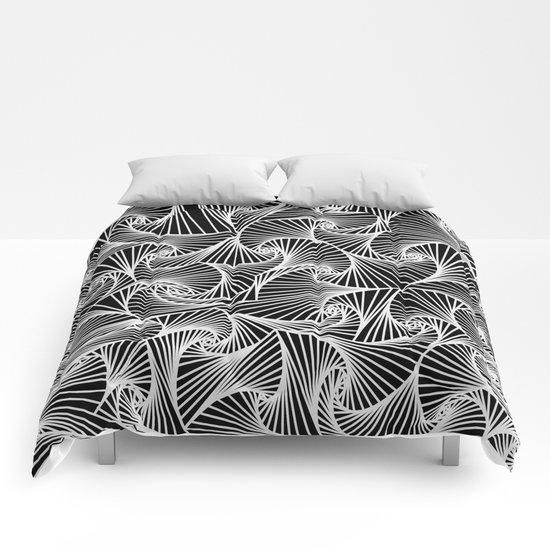 Fractal Sketch Dark Comforters