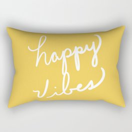 Happy Vibes Yellow Rectangular Pillow