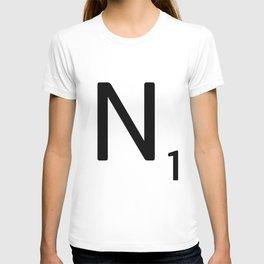 Letter N - Custom Scrabble Letter Tile Art - Scrabble N Initial T-shirt