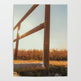 Bridge over an irrigation channel of the Lomellina at sunset Poster