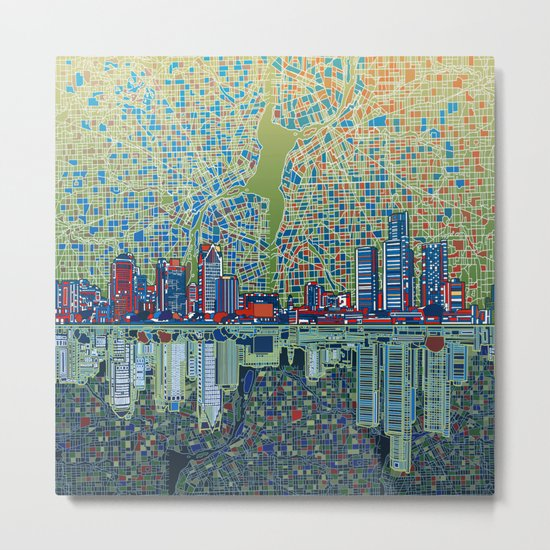 detroit city skyline Metal Print