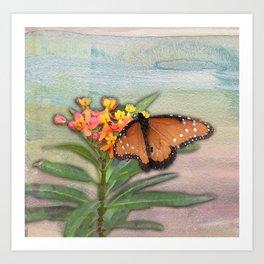 Butterfly on Lantana Art Print