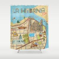 cuba Shower Curtains featuring Cuba by Sahily Tallet Yip